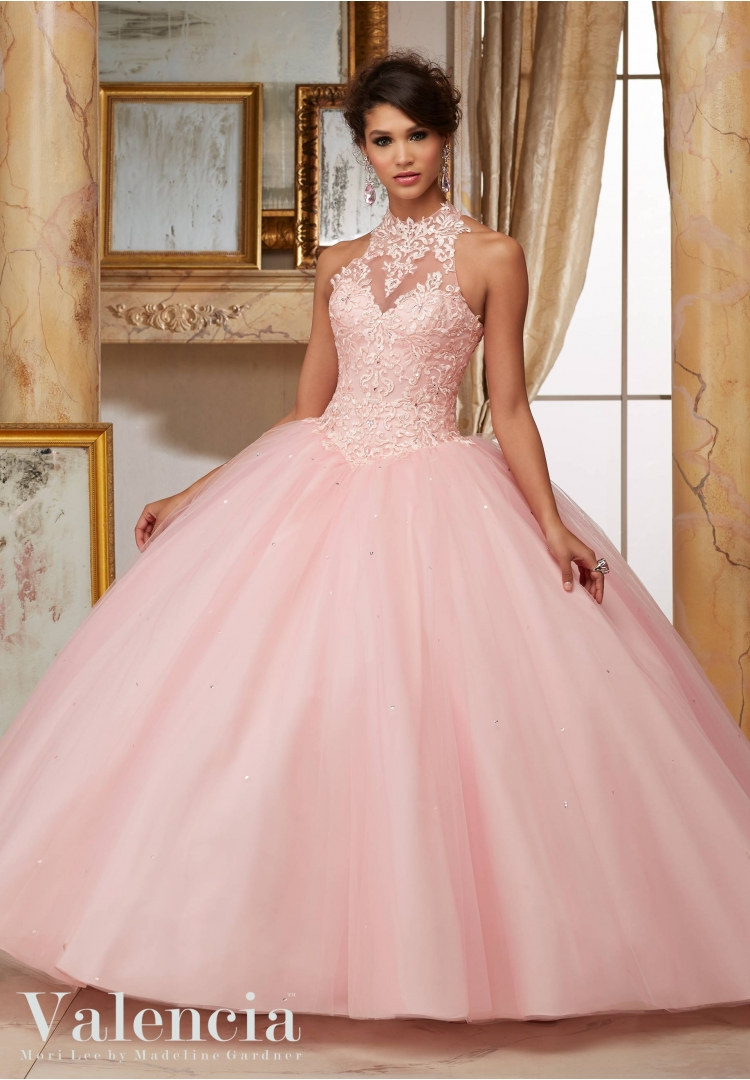 Red Quinceanera Dresses Lace Appliques Halter Ball Gown Cheap ...