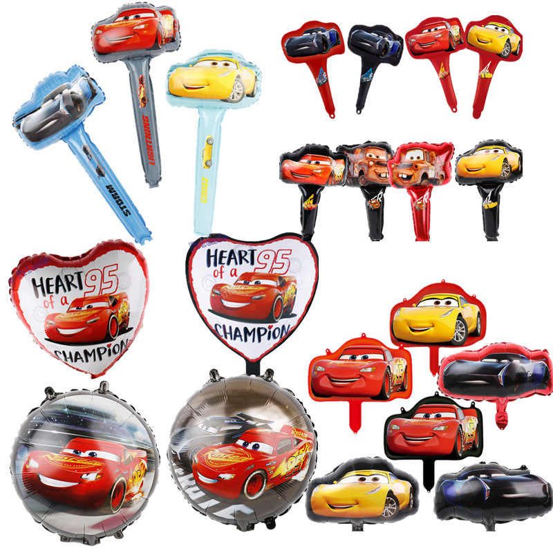 Racing Car Foil Balloons 1pc 18inch Disney Cartoon Car Globos Handheld Air Ballon Happy Birthday Party Decorations Kids Toys