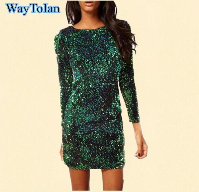 US $35.15 |WayToIan Plus size Sequin Dress Special Occasion Bodycon Dress  Party Sequined Dresses Long Sleeve Dress Green Red Black Vestidos-in  Dresses ...