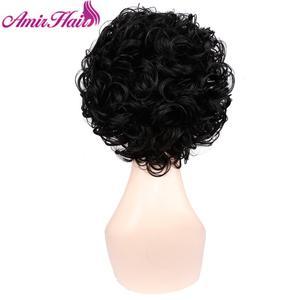 Image 2 - Pelucas cortas rizadas pelo sintético peluca corta negra y marrón para mujer Rubio degradado peluca completa Cosplay del pelo peluca fiesta Amir Hair