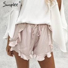 Simplee Ruffles high waist shorts women Sexy drawstring beach summer shorts Loose elastic waist streetwear shorts