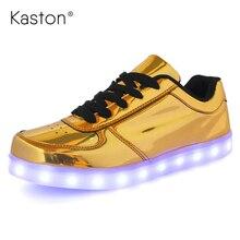 ผู้หญิงผู้ชายส่องสว่างledรองเท้าด้วยแสงแบรนด์หรูรองเท้าเรืองแสงในความมืดตะกร้าled f emme light upสเก็ตจำลองLS219