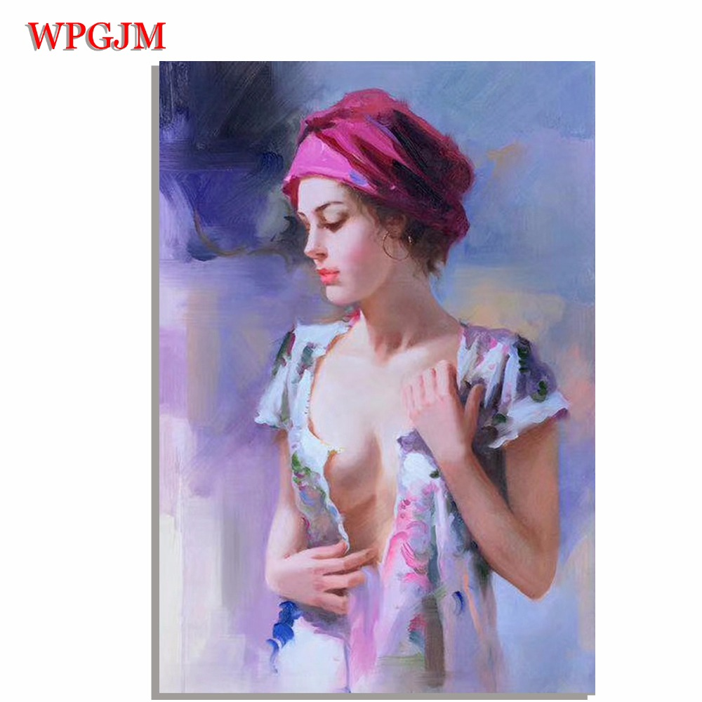 The beauty of oil painting Hand Painted Unframed Pino Daeni Impressionist  figure Canvas art Free shipping