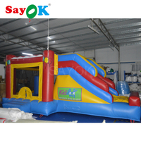 6x4x3.8m PVC Inflatable Bouncer Slide Inflatable Trampoline Children Games with Free Logo for Kids Playground Park Home