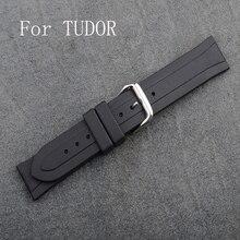 Marca de lujo 20 mm negro hombres de goma correa de reloj con Pin broche y logotipo, correa de goma de la correa para TUDO Rwatch