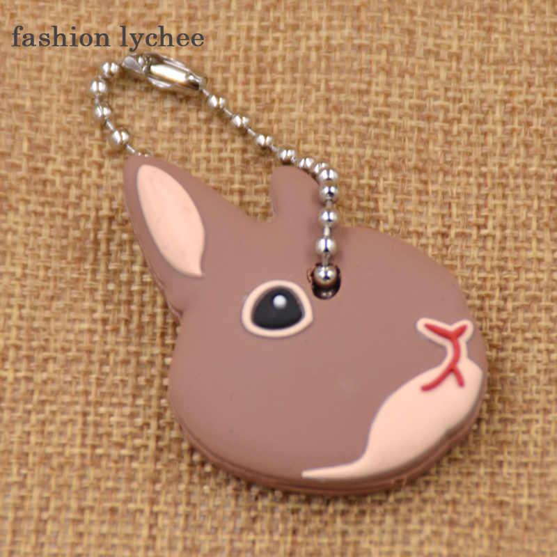 แฟชั่นลิ้นจี่น่ารักน่ารักสัตว์พวงกุญแจยางนุ่ม Pug แมวสุนัขกระต่ายกระต่ายฝาครอบกุญแจกระเป๋า Charms กุญแจ CHAIN ของเล่น