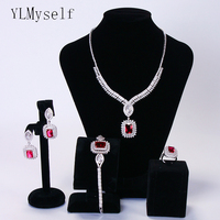 Luxury Red Square stone 4pcs set Necklace+Bracelet+earrings+ring jewelry Big wedding party bridal bijoux jewellery sets
