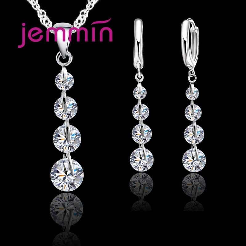 Romantische 925 Sterling Silber Link Kette Kristall Anhänger Halskette Schmuck-Set Für Frauen Ohrringe Hochzeit Schmuck Sets