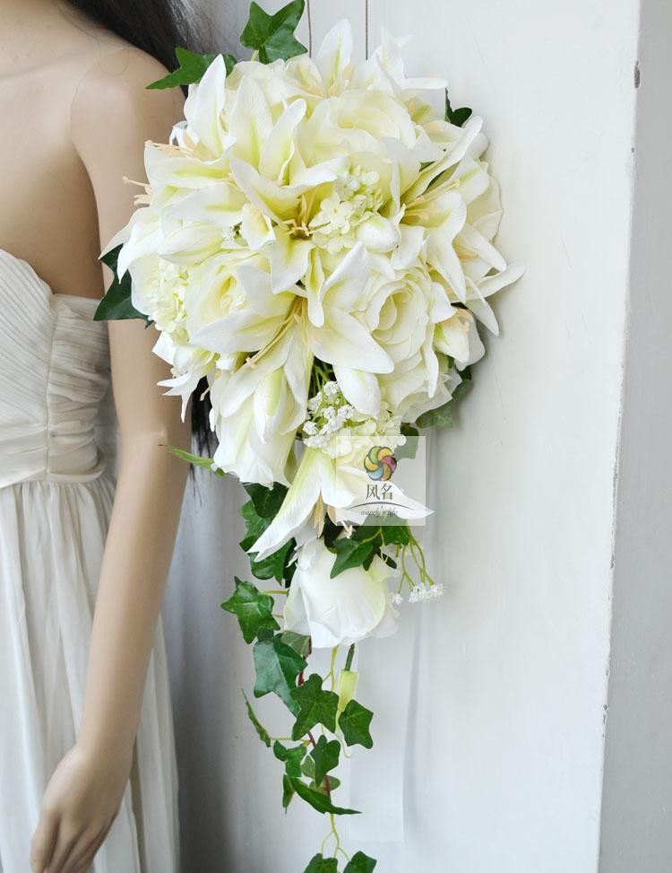 Simulation Flowers Floral Wedding Bridal Bouquet White And Pink
