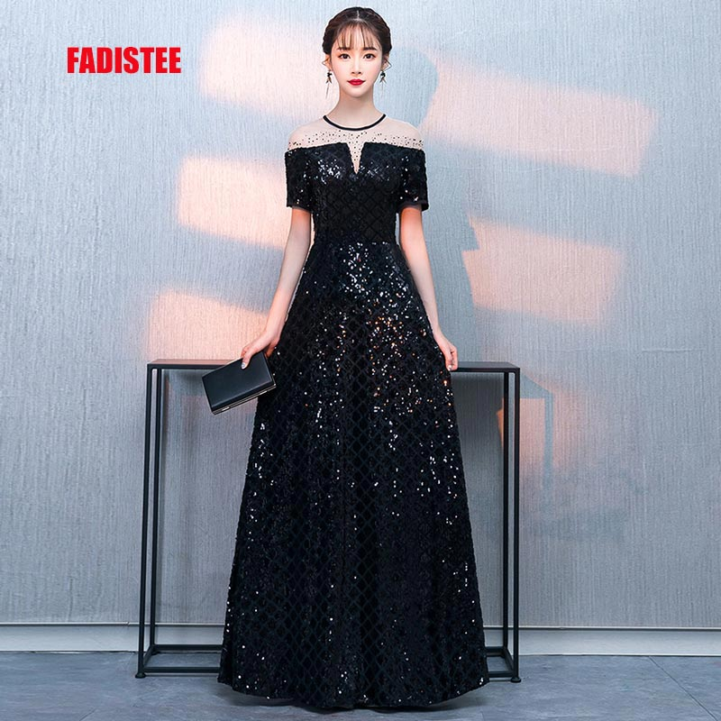 FADISTEE New arrival party dress evening dress Vestido de Festa sexy sequins  short sleeves A- 87d2bea71f63