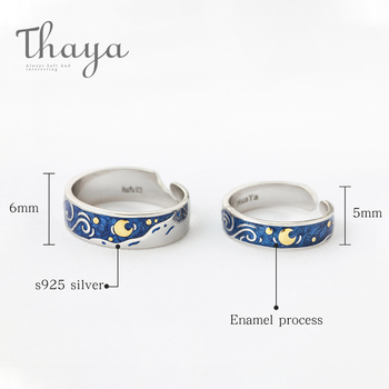 Stars & Moon Silver Couple Rings 3