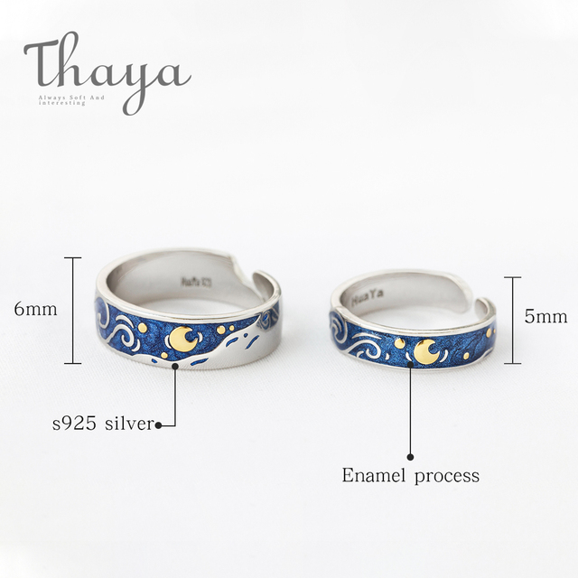 Thaya Van Gogh's Enamel couple rings Sky Star moon s925 silver Glitter Rings Engagement Ring Wedding Jewelry For Women 3