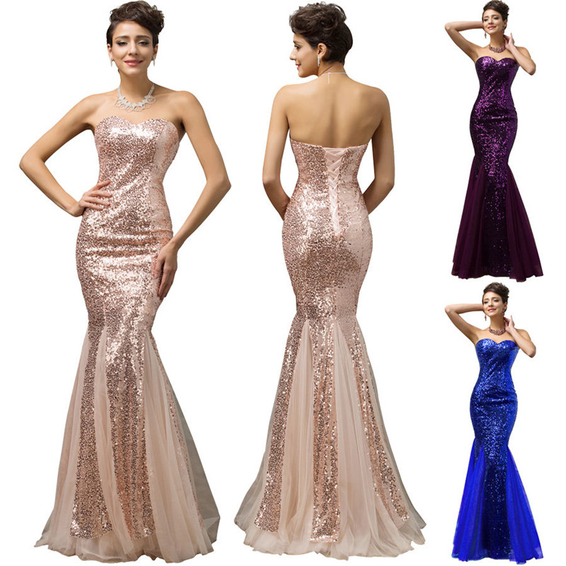 Hufanydrss Purple Blue Rose Gold Mermaid Prom Dress 2017 Sequined