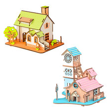 3D DIY Puzzle Model Cartoon House Assembling Wooden Toy Kid Early Learning Construction Pattern Gift Children House Puzzle цена в Москве и Питере