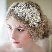 Lüks El Yapımı Noiva Çift Çiçek Gelin Düğün Saç Aksesuarları Bantları Boncuk Gelin Kadınlar için Elastik Şerit Hairband Kafa
