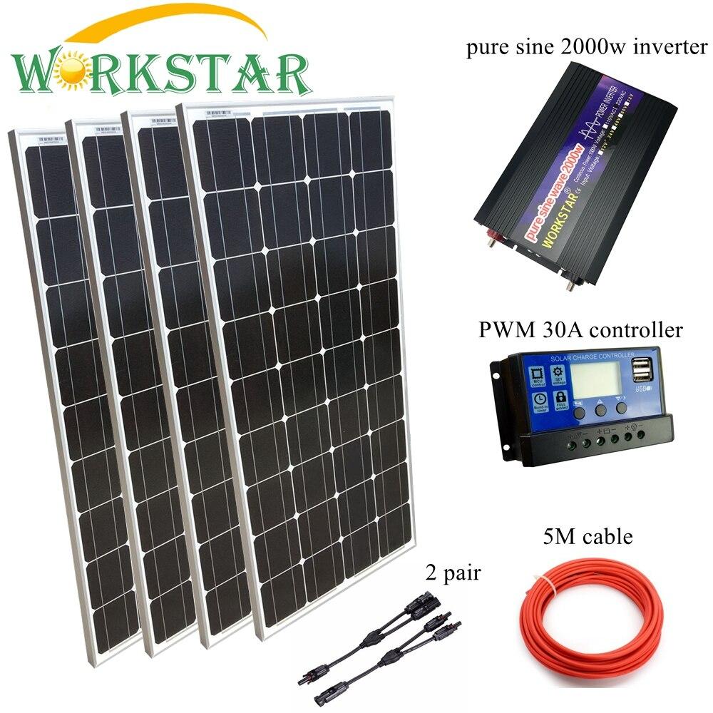 4*100 W de paneles solares con 30A controlador y 2000 W inversor completo 500 w fuera de la red Solar kit sistema 20 años de vida útil