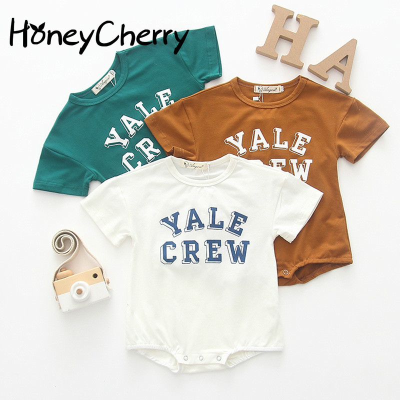 Cotton romper Short-sleeved Crawling Suit With Alphabetical Design For Summer Infants And Young Boys In 2019Cotton romper Short-sleeved Crawling Suit With Alphabetical Design For Summer Infants And Young Boys In 2019