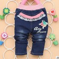 2017 Spring Autumn new baby girls jeans with flora and letter print fashion infant pants B096
