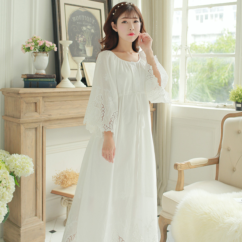 Vintage Dress Cotton White Long Dress Women Rococo Nightgown Sleepwear Palace Masquerade Dresses