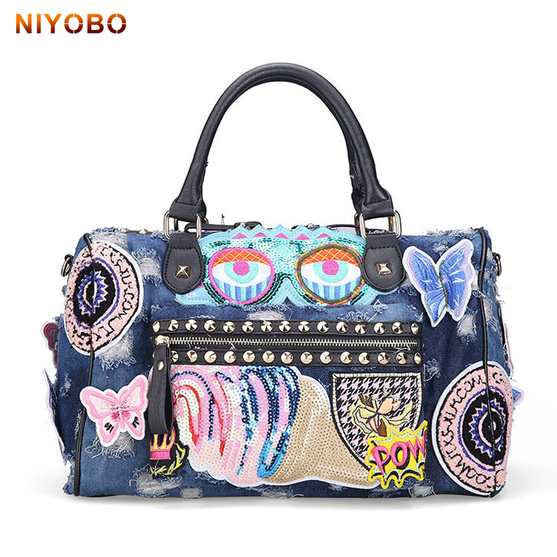 NIYOBO Fashion Cowboy style Washed Denim Women HandBags Vintage Luxury Ladies Jeans Shoulder Bags Girls Crossbody Bag PT1264 fashion vintage applique belt girls jeans denim women bags lady s handbags crossbody purse shoulder bag carteira bolsa feminina
