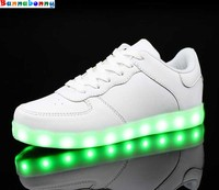 Kids Luminous Shoes toddler Boys & Girls LED White Shoes USB Charger Casual Sneakers Light Up Neon Glow Shoes Eur 30 46#