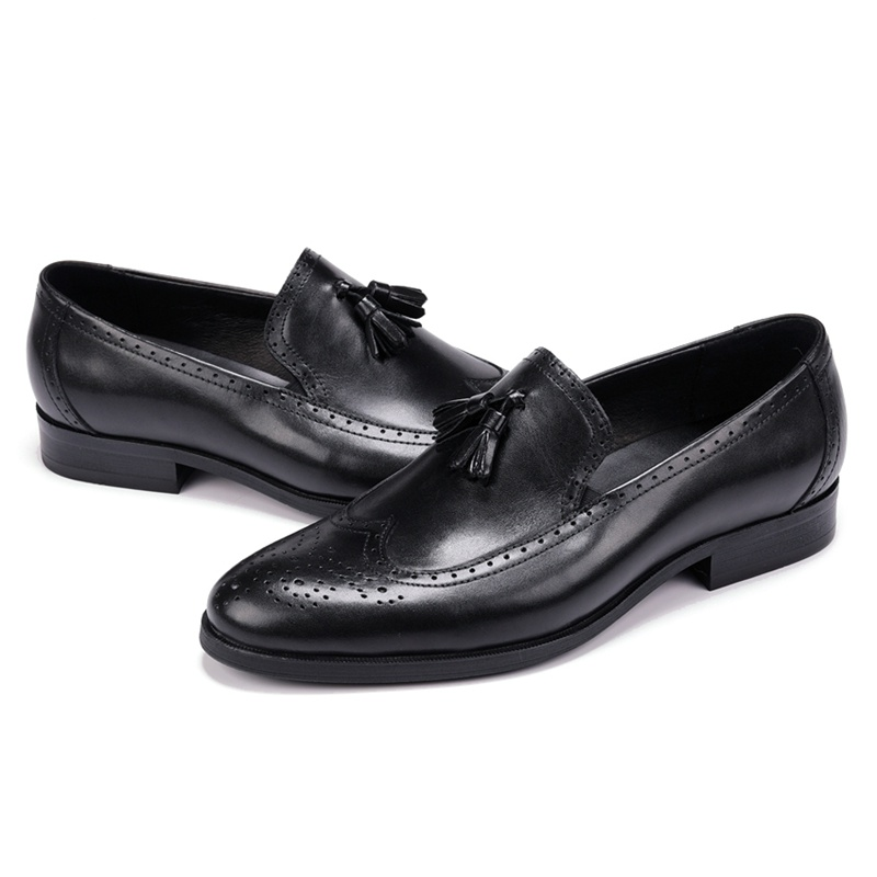 Vintag Round Toe Man Formal Dress Shoes Genuine Leather Carved Brogue Loafers British Designer Men's Wedding Party Flats JS195-in Formal Shoes from Shoes    2