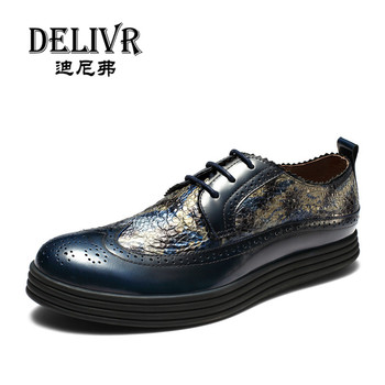 Delivr 2019 New High Quality Genuine Leather Men Brogues Shoes Carved Bullock Business Dress Men Oxfords Shoes Male Formal Shoes