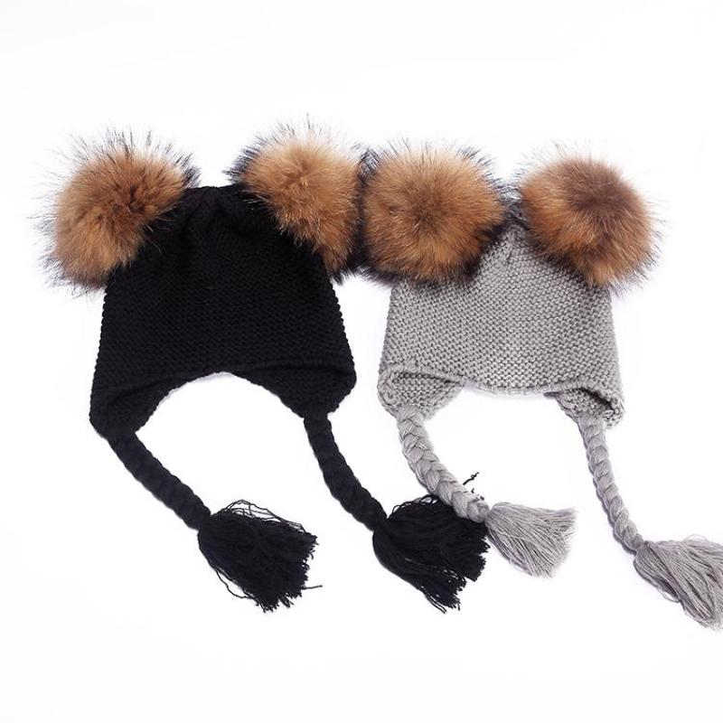 COKK Kids Winter Hats For Girls Boy Double Raccoon Fur Real Fur Pompom Ball Ear Protect Wool Knitted Cap Baby Bonnet Russian Hat