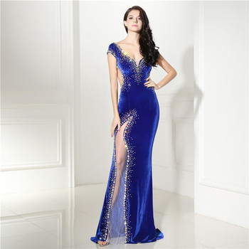 Sexy Backless Evening Dress Long Velvet Mermaid V Neck Crystal Beaded Royal Blue Prom Dress Women Formal Evening Gown