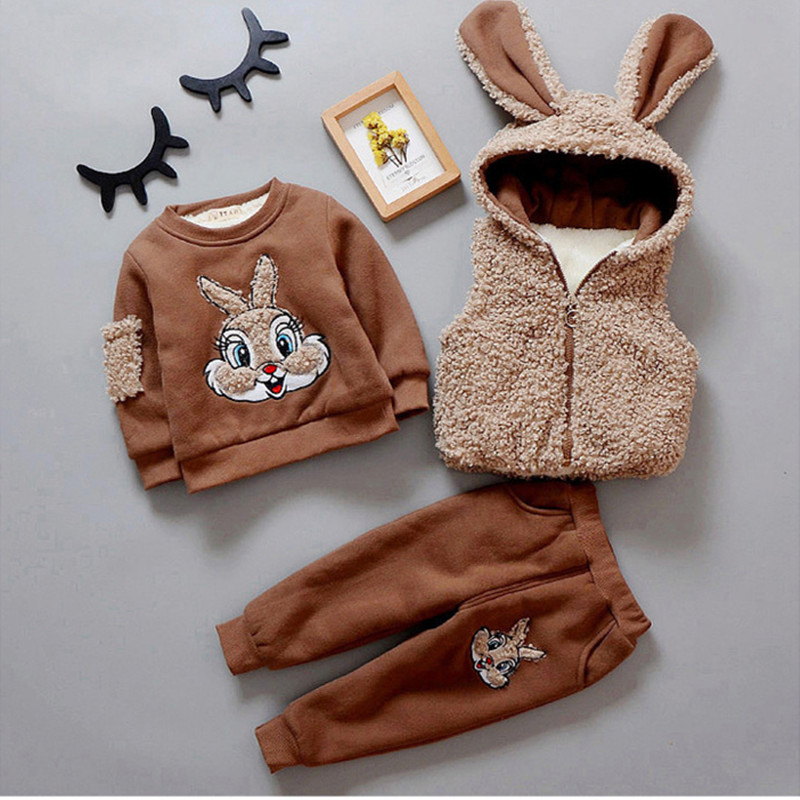 Baby Boy Girl Clothing Set Kids Clothing Set Winter Warm Children Clothing 3PCS Vest + Long Sleeves + Pants Cartoon Rabbit 1 4Y