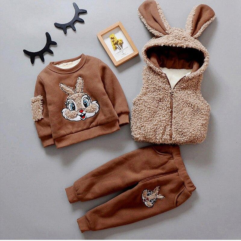 Bebê Da Menina do Menino Roupas Definir Crianças Conjunto de Roupas de Inverno Crianças Quentes Roupas 3 pcs Vest + Manga comprida + Calças coelho dos desenhos animados 1-4Y