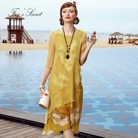 Бренд натурального шелка платье для Для женщин Мода Повседневное нерегулярные свободные с цветочным принтом Длинные платья природа шелков