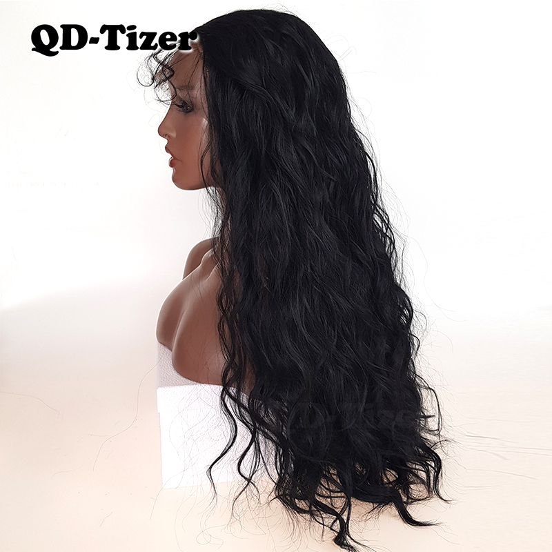 QD Tizer Natural Black Loose Wave Synthetic Front Lace Wig Resistant Hair Full Density  Baby Hair For Black Women-in Synthetic Lace Wigs from Hair Extensions & Wigs