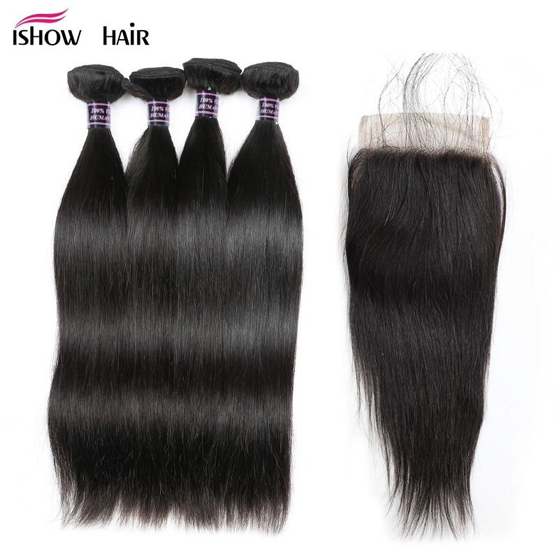 Ishow Brazilian Straight Human Hair 4 Bundles With Lace Closure Free Middle Three Part Hair Weave Bundles With Closure Non Remy