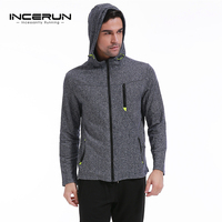 INCERUN Men's Casual Zipper Hoodies Jackets Long Sleeve Solid Cotton Fleece Hooded Sweatshirt Coats Stylish High Street 2018