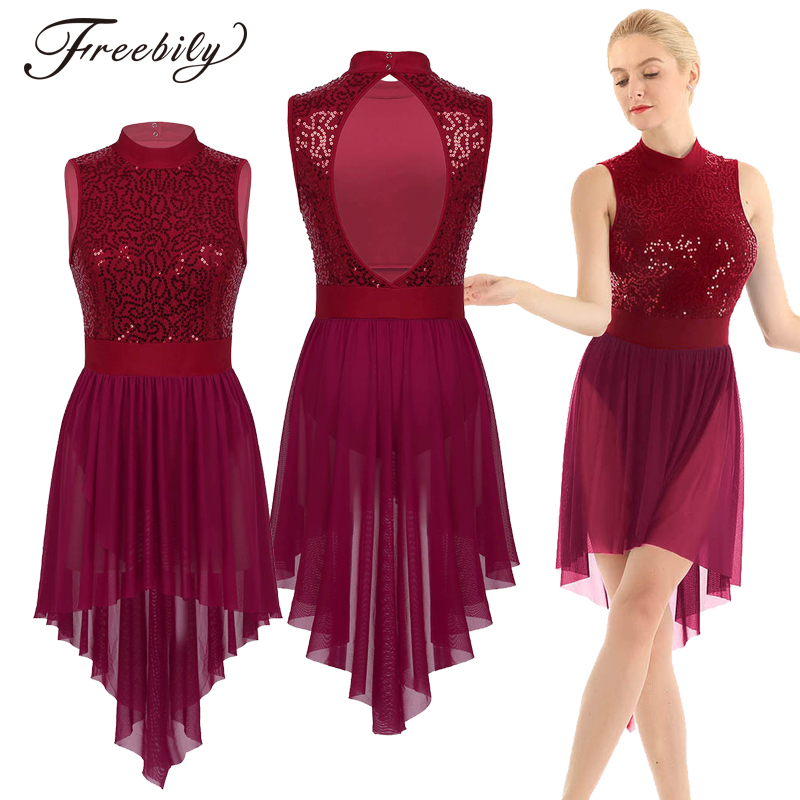 Women Halter Sleeveless Shiny Sequined High Low Mesh Gymnastics Leotard Skating Ballet Dance Dress Adult Lyrical Dance Costumes
