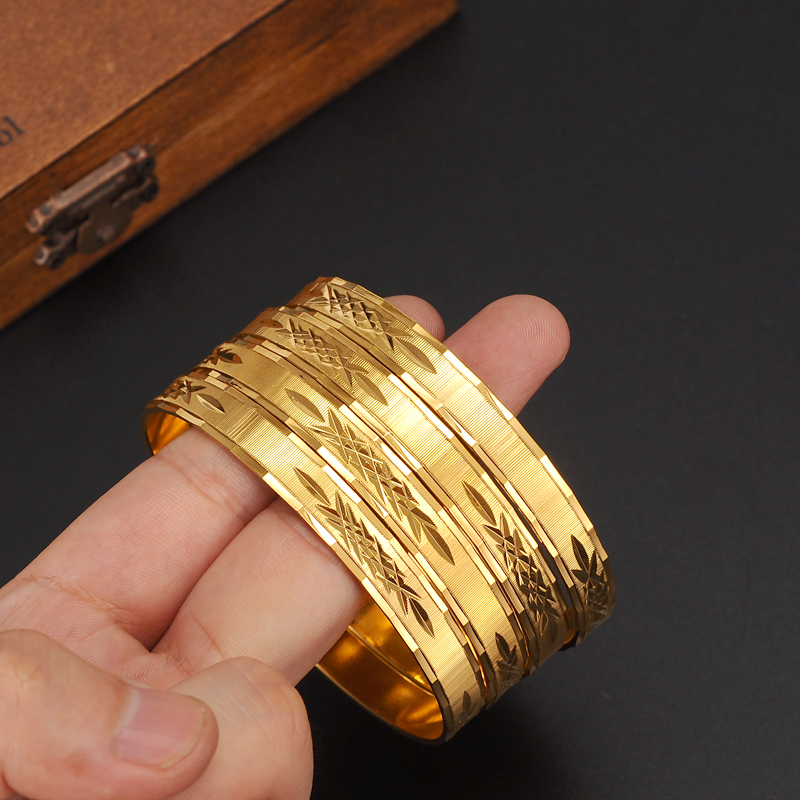2.6 inches diameter Dubai Gold Jewelry 1PC Bangles For Ethiopian BanglesBracelets Jewelry chinese wedding bridal Bangles Gift