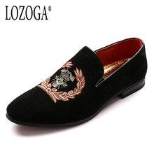 Новая мода Вышивка Мужская обувь черный Лоферы для женщин Slip-On брендовая повседневная обувь качества роскоши человек свадебные туфли удобные Лоферы для женщин