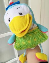 good quality cloth cartoon big mouth duck hand puppet with ring in the foot