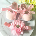 Kids flowers Shoes  Girl Princess Lace Headband Cute Infant Girl Toddler Shoes Set Newborn Photography Props 8TX27