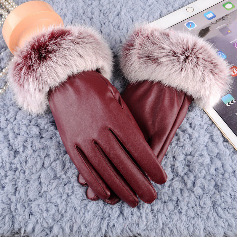 HTB1A6SwmBfH8KJjy1Xbq6zLdXXaW - 1 Pair Women's Glove PU Leather/Suede Velvet Winter Driving Gloves Rabbit Fur Warm Outdoor Touch Screen Bow Gloves Mittens