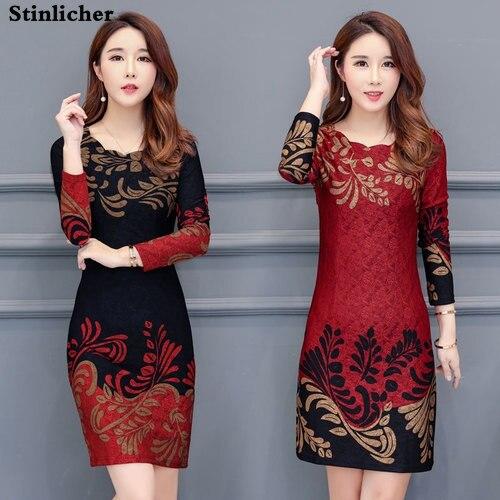 Stinlicher Spring Autumn Women Dress Long Sleeve Elegant Print Dress Women Blue Red Plus Size Vintage Office Ladies Dress Female