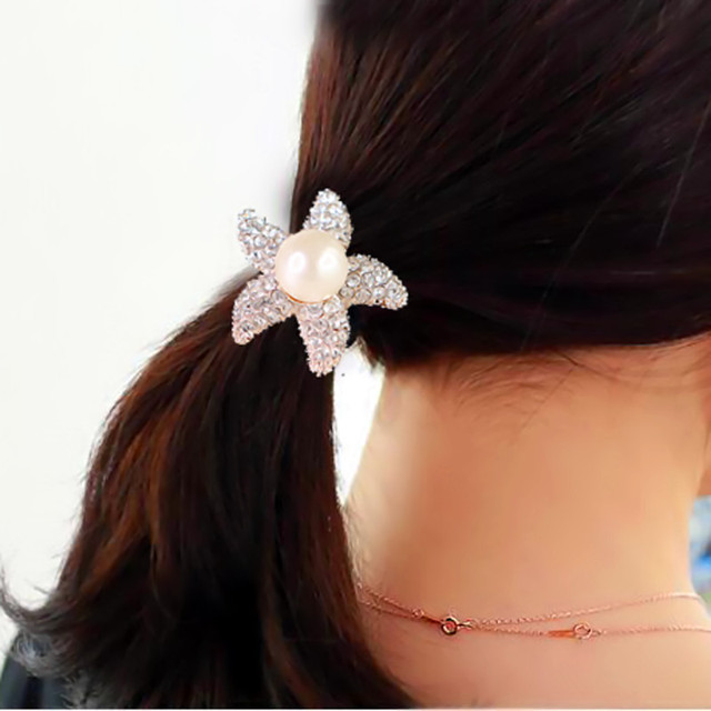 Hot Sale Fashion Women Girls Pearl Ponytail Holder Full Crystal Hair Ties  Rope Hairband Elastic Hair Bands Hair Accessories 74a76300709