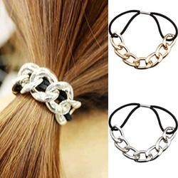 IPARAM moda damska koreański styl metalowa głowa opaska do włosów łańcuszkowa główka elastyczna opaska do włosów lina biżuteria prezent