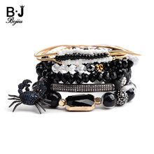 BOJIU 5 Pcs/Set Trendy Spider Square Charm Bracelets For Women Black Crystal Onyx Gold Spring Natural Stone Bracelet BCSET134