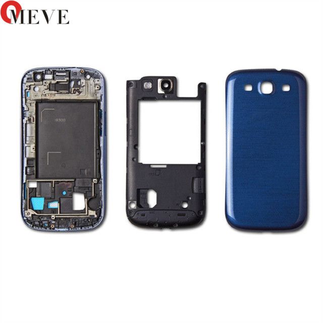 10sets Full Housing for Samsung Galaxy S3 I9300 i9305 s3 neo 9300i 9308i Front Frame+Middle Frame+Battery Cover door Repair