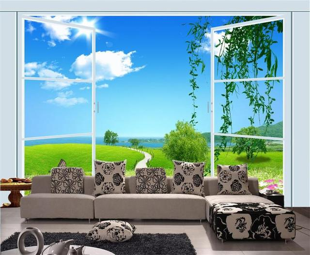 3d Room Wallpaper Custom Photo Non Woven Mural Spring Scenery Outside Window Painting TV Sofa