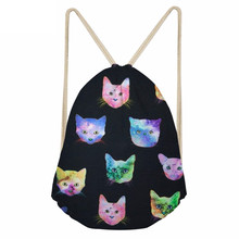 Kawaii Space Cat Kitten Pattern Girl Boys Drawstring Bags Softback Large Sack Bags for Teenagers Students