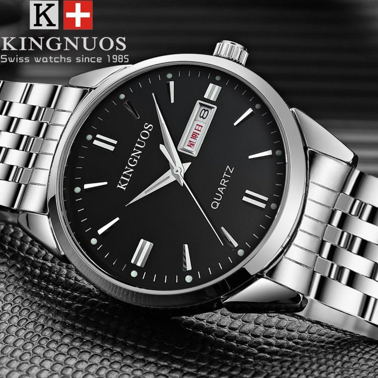 HTB1A6TKpY5YBuNjSspoq6zeNFXar Kingnuos Brand New Design Business Man Watch Steel Waterproof Luminous Hour Date Week Clock Male Hodinky Quartz Men's Watch