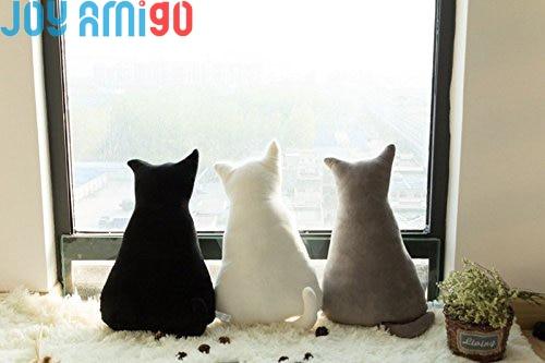 SOFT Back Cat Kitty pelēks / balts / melns plīša rotaļlieta spilvens dāvanu dāvana 45cm-70cm garš